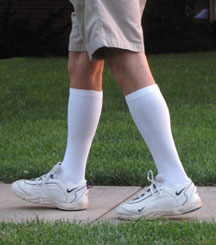 When we apply a support stocking or support sock to our legs we are helping the damaged valves and incompetent veins in our legs to function more normally
