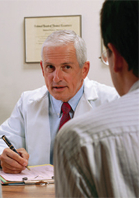 Physician consultation with man